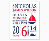 Nautical Baby Birth Announcement Nursery Wall Art, Red and Blue