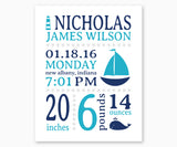 Nautical Baby Birth Announcement Nursery Wall Art, Blue and Turquoise