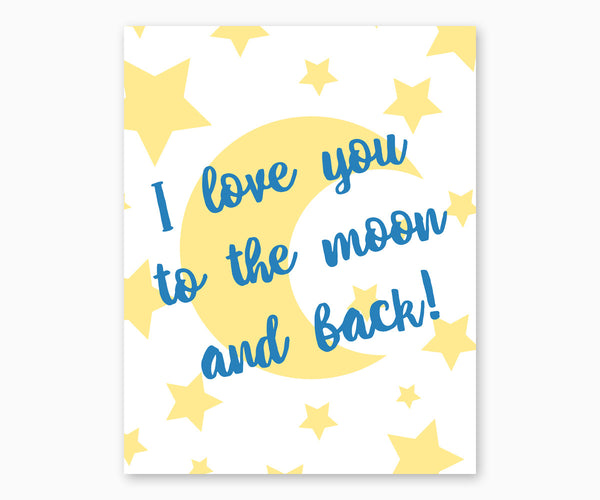 I Love You to the Moon and Back Nursery Wall Art, Blue & Yellow