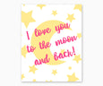 I Love You to the Moon and Back Nursery Wall Art, Pink & Yellow