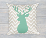Deer Buck Head chevron pillow in green and taupe linen finish