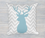 Deer Buck Head chevron pillow in blue and gray linen finish