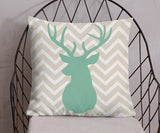 Deer Buck Head chevron pillow in green and taupe