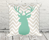 Deer Buck Head chevron pillow in green and taupe smooth finish