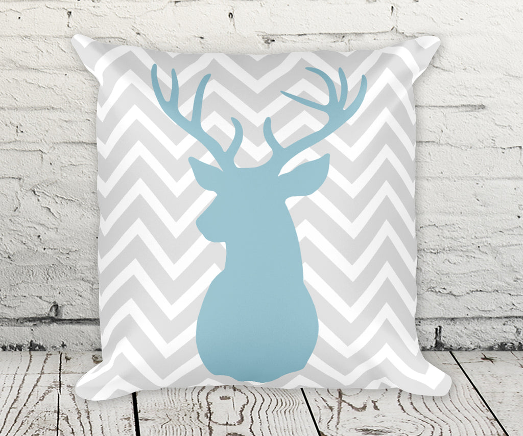 Deer Buck Head chevron pillow in blue and gray smooth finish