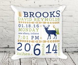 Deer Woodlands Rustic Birth Stats Birth Announcement Pillow