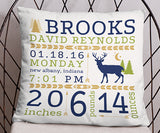 Deer Woodlands Rustic Birth Stats Birth Announcement Pillow, blue, green, tan