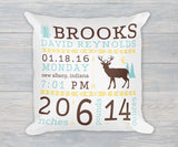 Deer Woodlands Rustic Birth Stats Birth Announcement Pillow Brown, blue, yellow