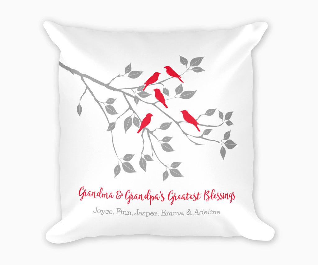 Grandma and Grandpas Greatest Blessings Decorative Pillow with Grandkids names