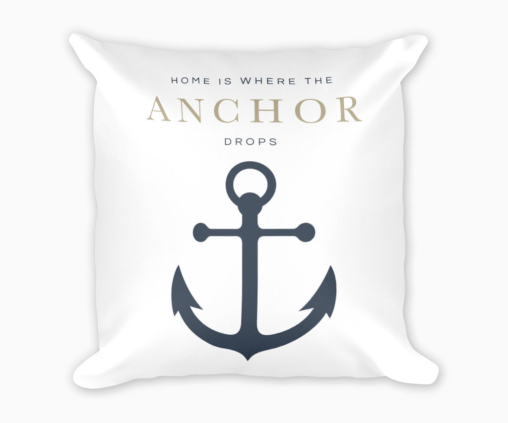 Home is Where the Anchor Drops Decorative Pillow Tan
