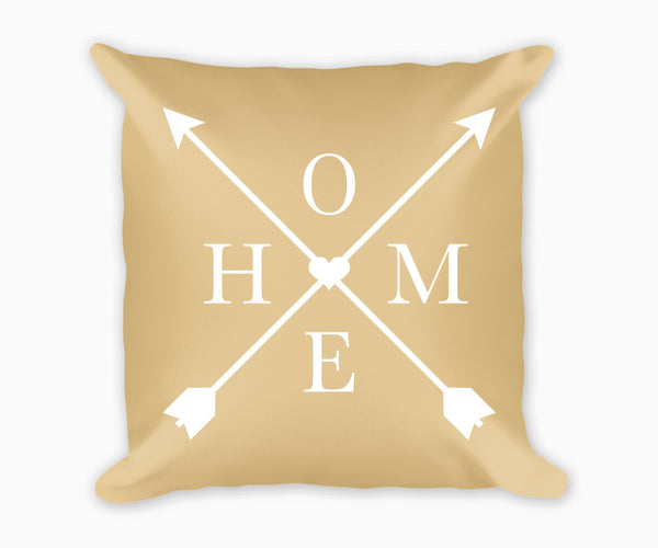 Home and Arrows Decorative Pillow, Tan and White
