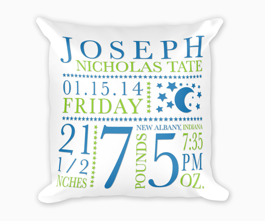 Moon and Stars Birth Announcement, Birth Stats Pillow, Blue and Green