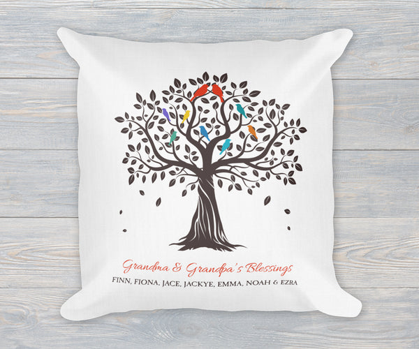 Grandkids family tree pillow with names, linen finish, gift for grandma and grandpa