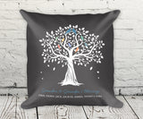Grandkids family tree pillow with names, linen feel, gift for grandma and grandpa