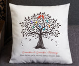 Grandkids family tree pillow with names gift for grandma and grandpa