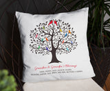 Grandchildren Family Tree Pillow With Names Gift for Grandparents