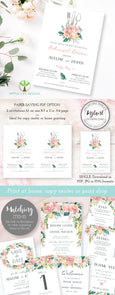 Pink Blush Floral Wedding Rehearsal Dinner Template 5 x 7, Artful Life Designs