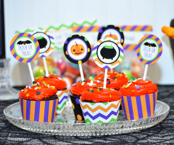 Halloween cupcake toppers and wrappers, digital instant download