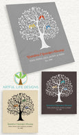 Grandparent Blanket personalized family tree with grandkids names Artful Life Designs