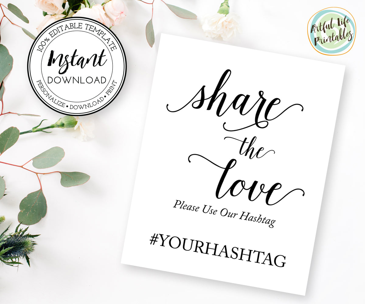 share the love wedding hashtag sign template