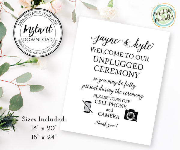 Editable unplugged wedding ceremony sign template