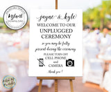 wedding welcome sign unplugged ceremony editable template