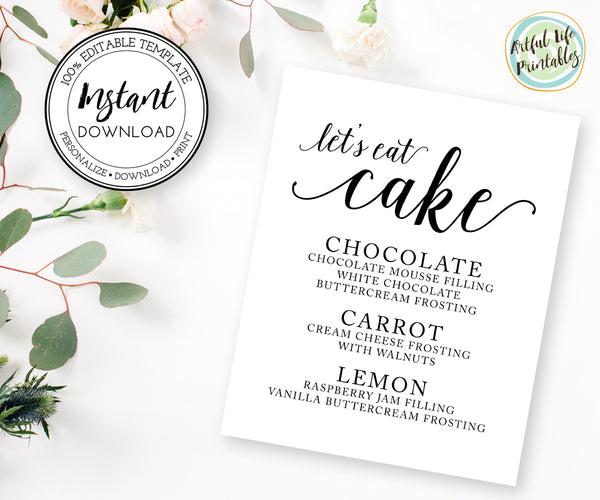 lets eat cake, cake flavor sign, cake table sign template