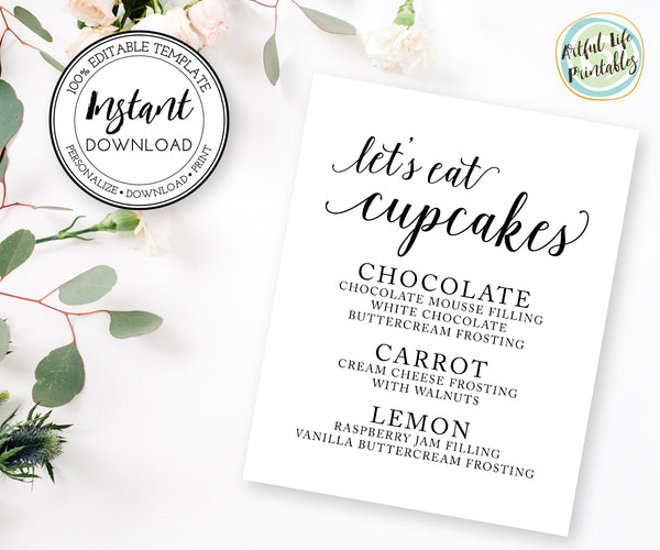 lets eat cupcakes, cupcake flavor sign template
