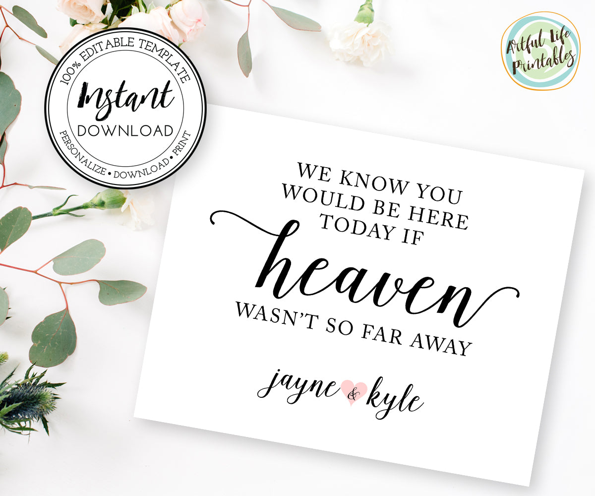 Wedding memorial sign template