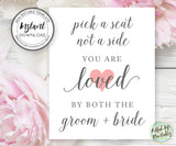 Pick a Seat Wedding Seating Sign Template