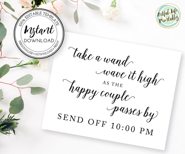 ribbon wands couples send off, wedding wands sign template