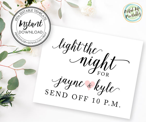 Light the Night Couple's send off sign template