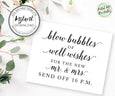 bubbles wedding send off sign template