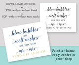 blow bubbles of well wishes wedding send off sign template