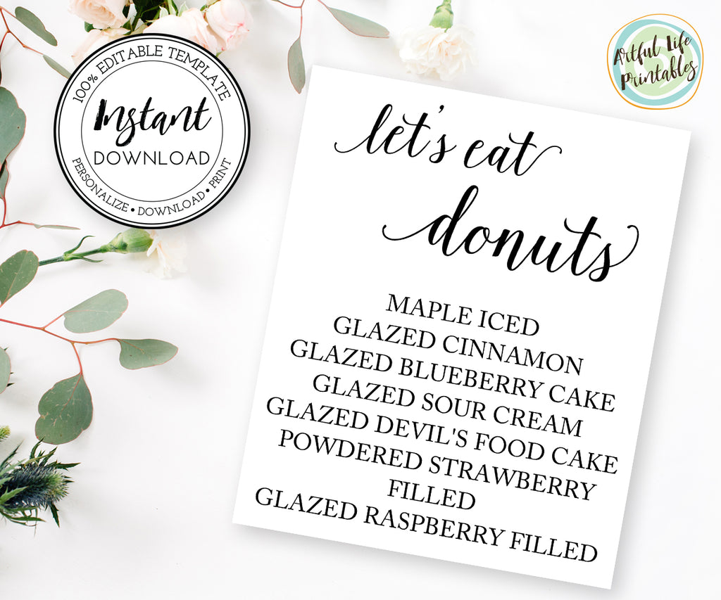editable donut flavor sign, donut bar sign template