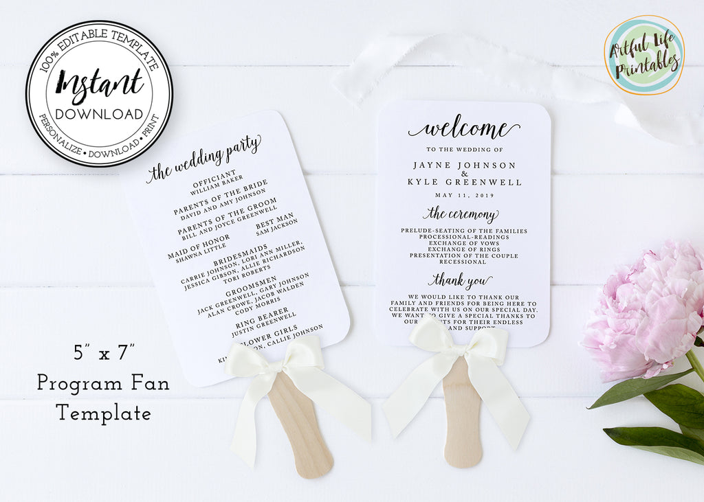 Wedding program fan template, 5 x 7 wedding hand fan program template