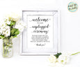 Unplugged Wedding Ceremony Welcome Sign Printable