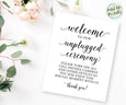 Unplugged Ceremony Wedding Welcome Sign Printable