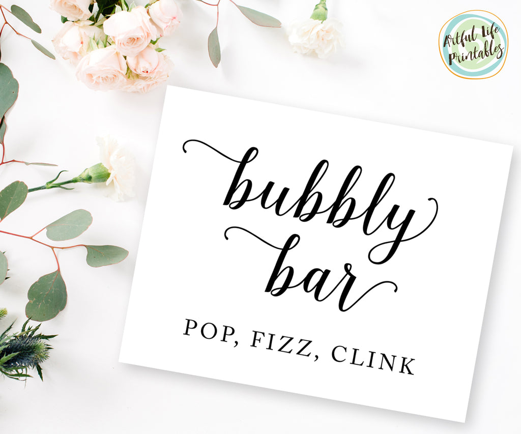 Bubbly Bar, Pop Clink Fizz Wedding Bar sign