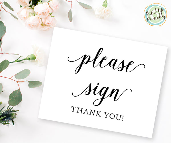 Please Sign, Wedding Guest Book Sign Printable