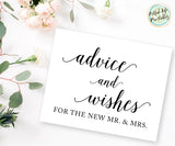 Advice and Wishes Sign Printable