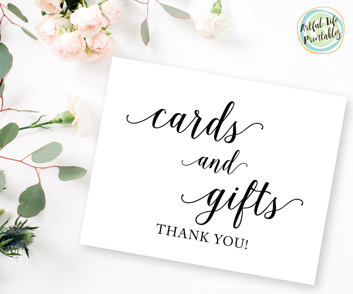 Cards And Gifts Sign Gift Table Sign Printable Wedding Printable Artful Life Designs