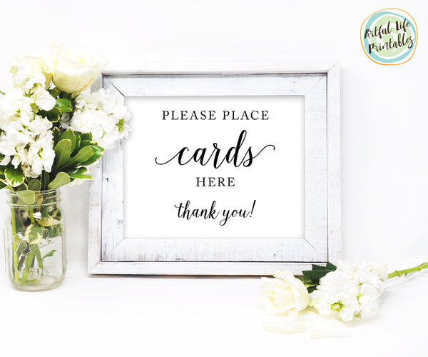 Please place cards here, card table sign printable