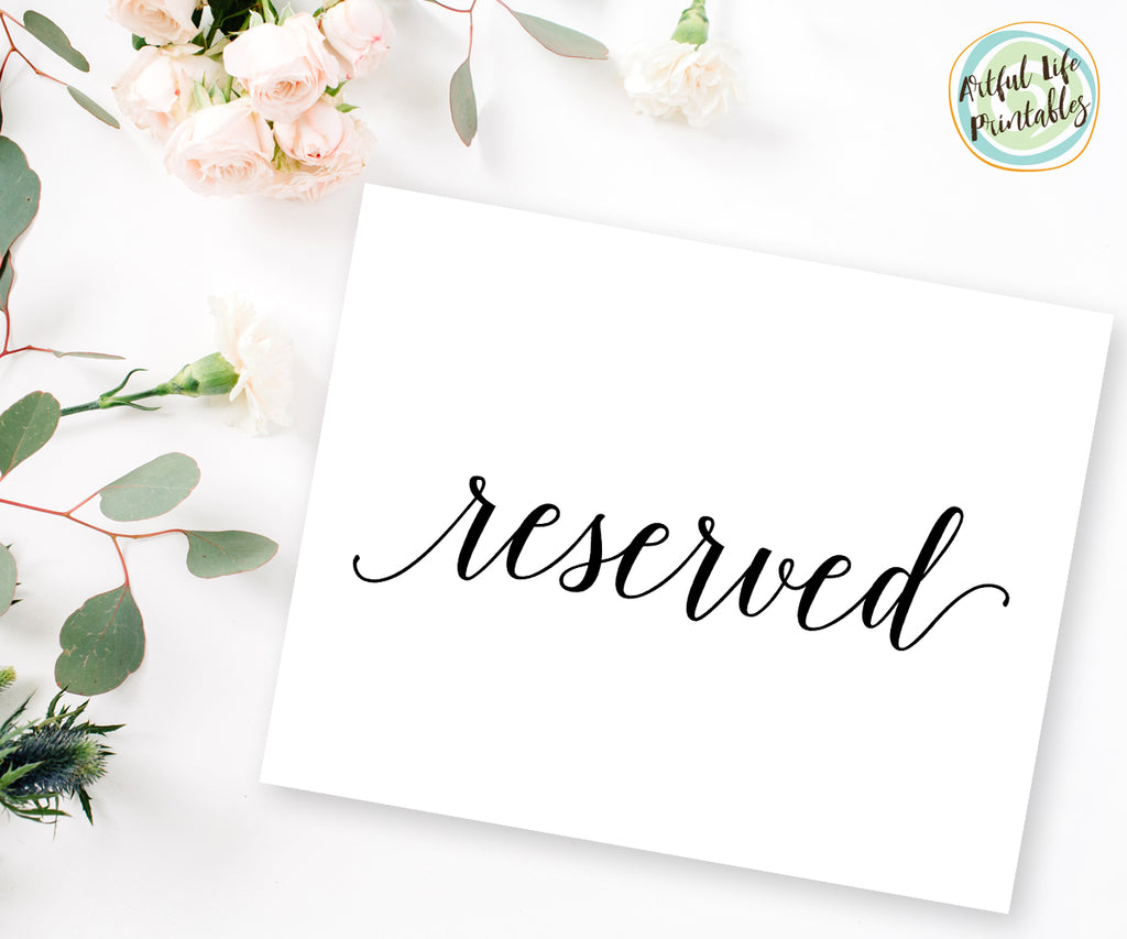 Reserved Sign Printable, Reserved Wedding Printable
