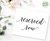 reserved row sign printable, wedding printable