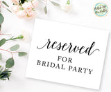 Reserved for the bridal party sign printable