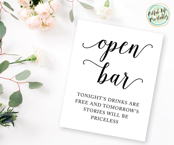 Open Bar Wedding Sign Printable