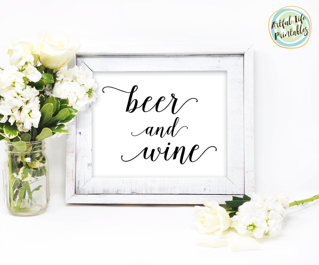 Beer and Wine Sign Wedding Printable
