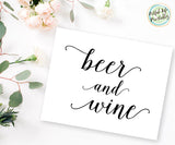 Digital Beer and Wine Sign Wedding Printable