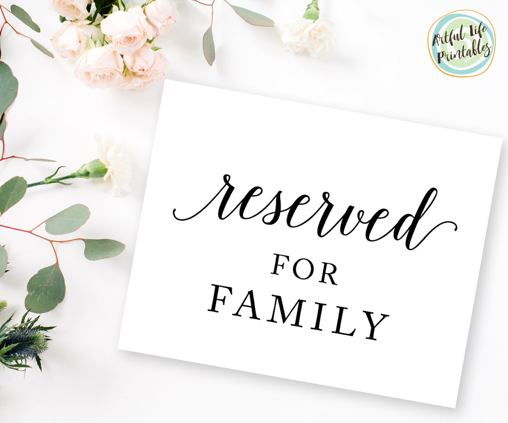 Reserved for Family Sign, Wedding Sign Printable